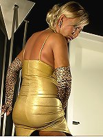 Kinky blonde MILF showing off her extra big boobs and huge fat booty in evening gown