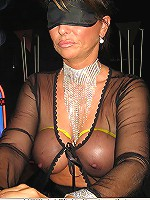 Blindfolded Lady Barbara is enjoying see-through clothes