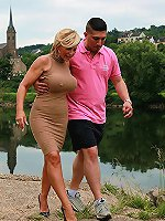 Mature woman is getting horny during a regular walk