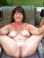 Sensational granny posing outdoors