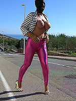 Milf with roped boobies and sexy tight leggings