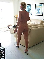 Nasty blonde MILF posing nude and getting wet and horny