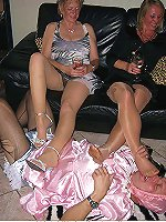 Fetish kinky ladies trampling and leg dominating their sissy crossdresser