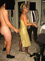 Guys trying to fuck a MILF with a blindfold