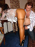 Crazy long-legged milf is seducing a horny mate
